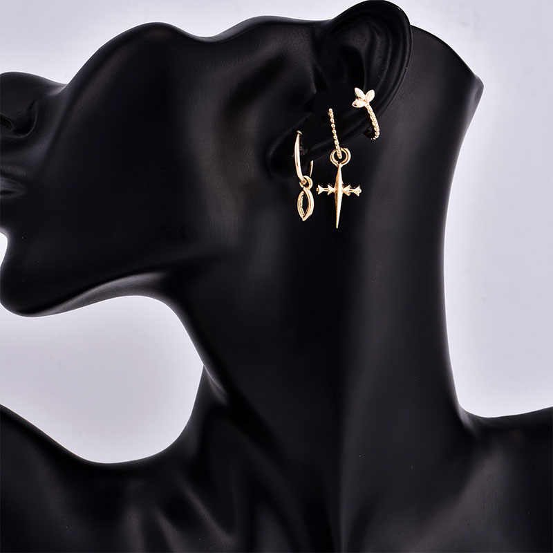 3pcs/set Ladies Gold Color Small Hoop Earrings With Cross Infinity Charm Pendant Women's Minimalist Fashion Hoop Earrings Set