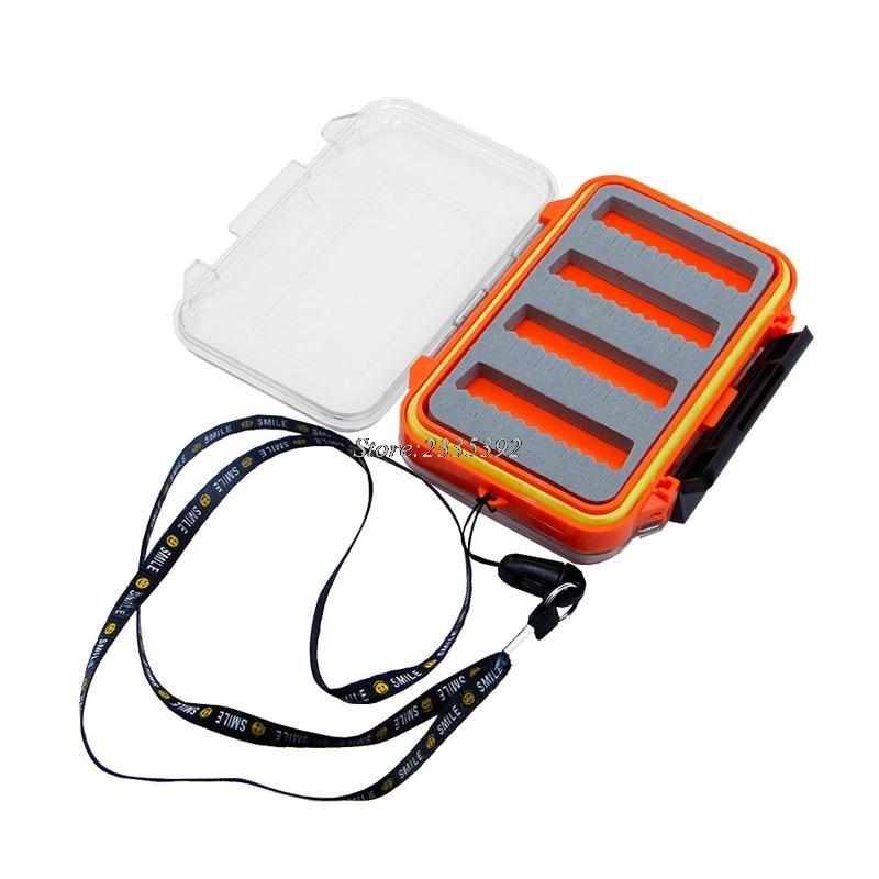 Plastic Foam Fly Fish Fishing Lure Bait Hook Storage Case Box Waterproof