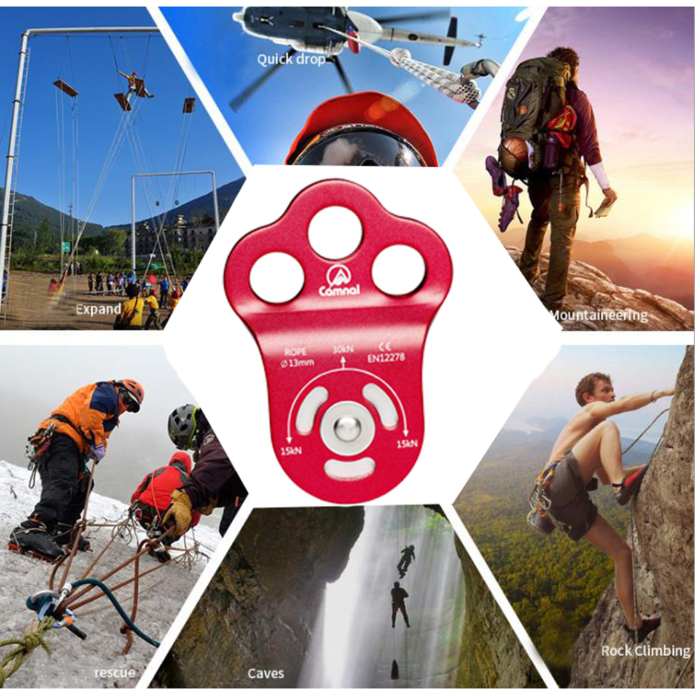 30KN Climbing Pulley Red Aluminum Rescue Swing Rope Rigging Tackle For Rock Climbing Caving Mountaineering Escalade Equipement