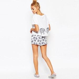 Image 4 - Elephant Pajama Set Women Graphic White Cotton Sexy Cute Home Tops Shorts Loungewear Nightwear Sleepwear Teen Girl Plus Size