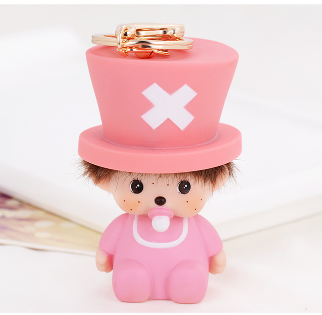 Cute & Adorable Pink Monchichi Monkey Keyring chaveiro feminino Keychain porte clef fourrure Bag Charm
