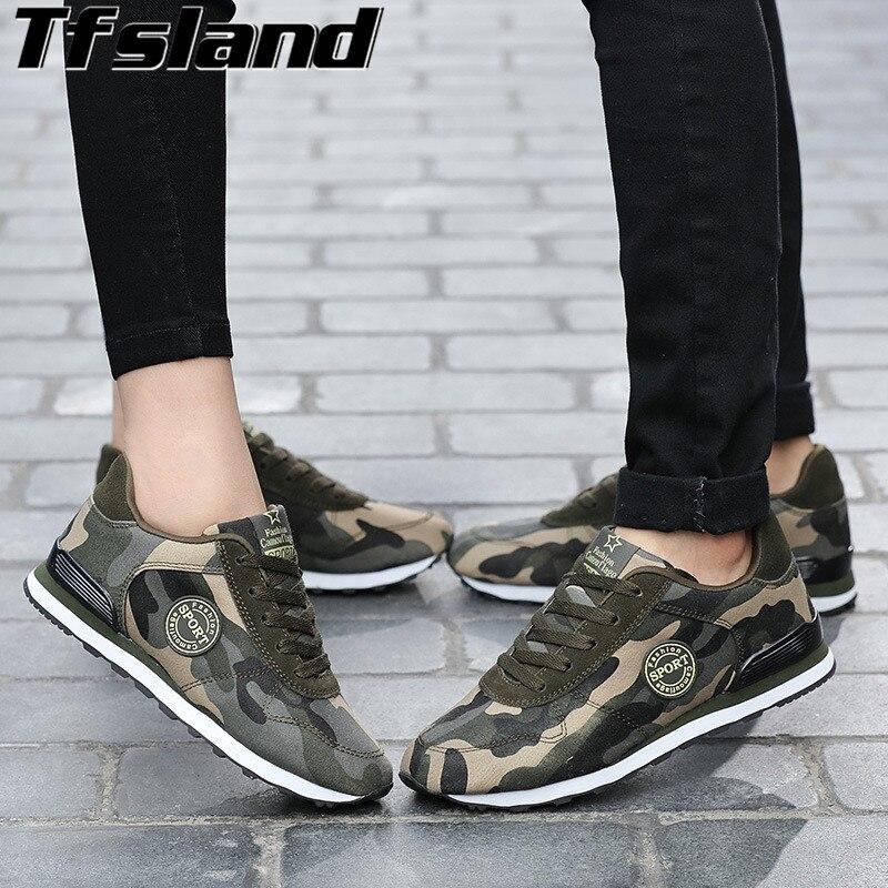 Tfsland Menn Kvinner Desert Digital Camouflage Militær Sko Pustende Myke Skinn Sko Zapatillas Hombre Løpesko Sneakers