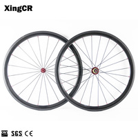 3K Glossy Road Carbon Wheels Carbon Wheelset 700c 23mm Width 50mm Depth EMS with Bitex R13 Red Hubs 20/24 Holes