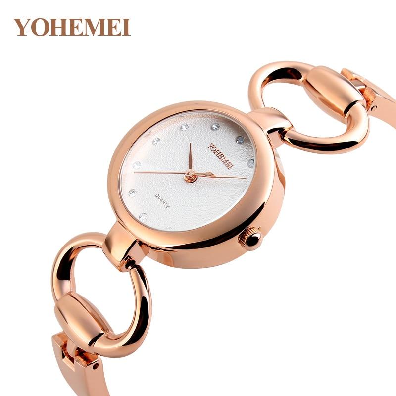 YOHEMEI Brand Luxury Watch Women Fashion Rose Bracelet Watch Simple Dial Dress Jewelry Clock Ladies Casual