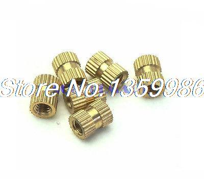 200Pcs Solid Brass M2.5x8 3.5OD Embedded Knurled Nut Knurled Thumb Nuts m2 copper flower mother nut double injection through knurled insert m3x8m3x15