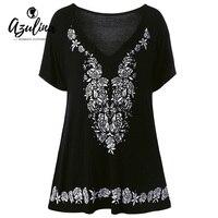 AZULINA Noir Grande Taille Femmes T shirt Imprimé floral Rose Tunique V Cou Coton Lâche Dames De Base D'été Top T-shirts 2017 Blusas