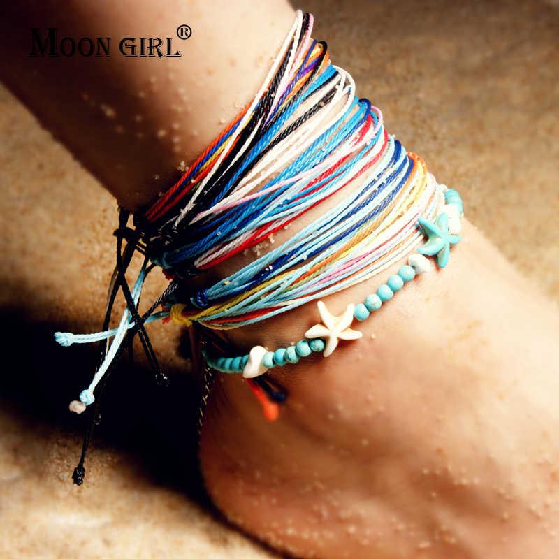 Moon girl z kamienia naturalnego rozgwiazda Boho obrączki bransoletki dla kobiet Chic Vintage ciąg lato nogi stóp bransoletki Drop Shipping