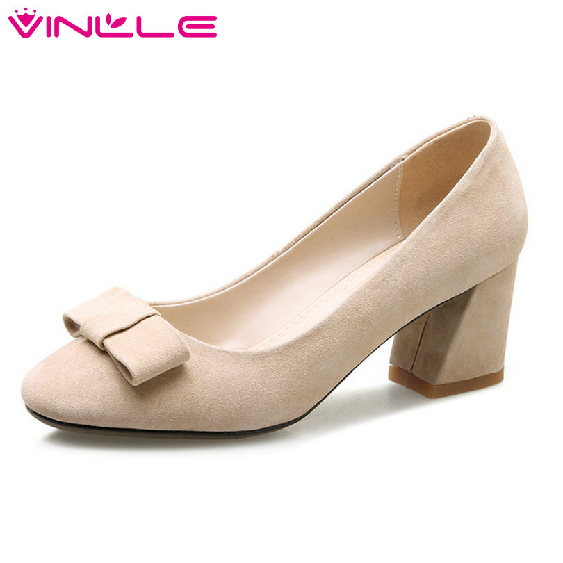 VINLLE 2018 Women Pumps Spring Pointed Toe Genuine Leather Butterfly-Knot Square Med Heel Ladies Wedding Shoes Size 34-39 vinlle 2017 women pumps autumn slip on wedding shoes women elegant pointed toe pu spring shoes square low heel pumps size 34 43