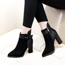 цены 2018 New Fashion Classic Sexy Women Boots Shoes Thick High Heel Buckle Ankle Boots Autumn Winter Ladies Shoes CH-B0106