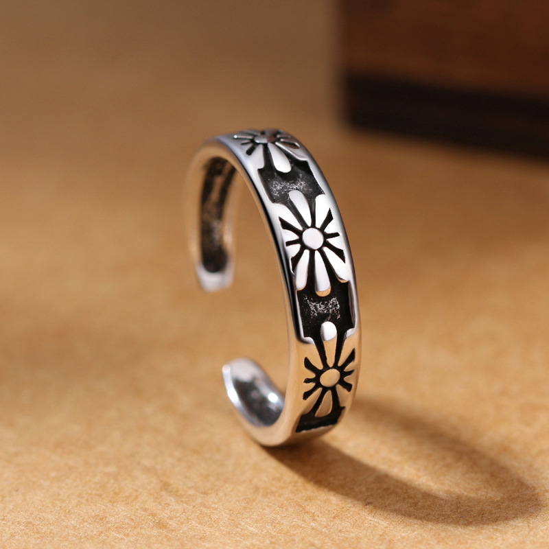 S925 New Trend Hot Print Creative DIY Adjustable Ring Suitable For Women Jewelry