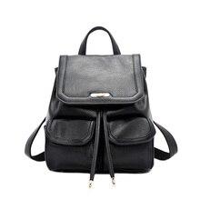 Doodoo натуральная кожа рюкзак большой Ёмкость черная кожаная сумка Женщины Школьный рюкзак дорожные сумки D6005