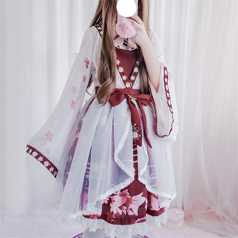 Lolita robes 2018 nouveau Lolita Style chinois poisson rouge scie sauteuse faux deux pièces Op robe broderie nœud papillon filles douces Cosplay robe