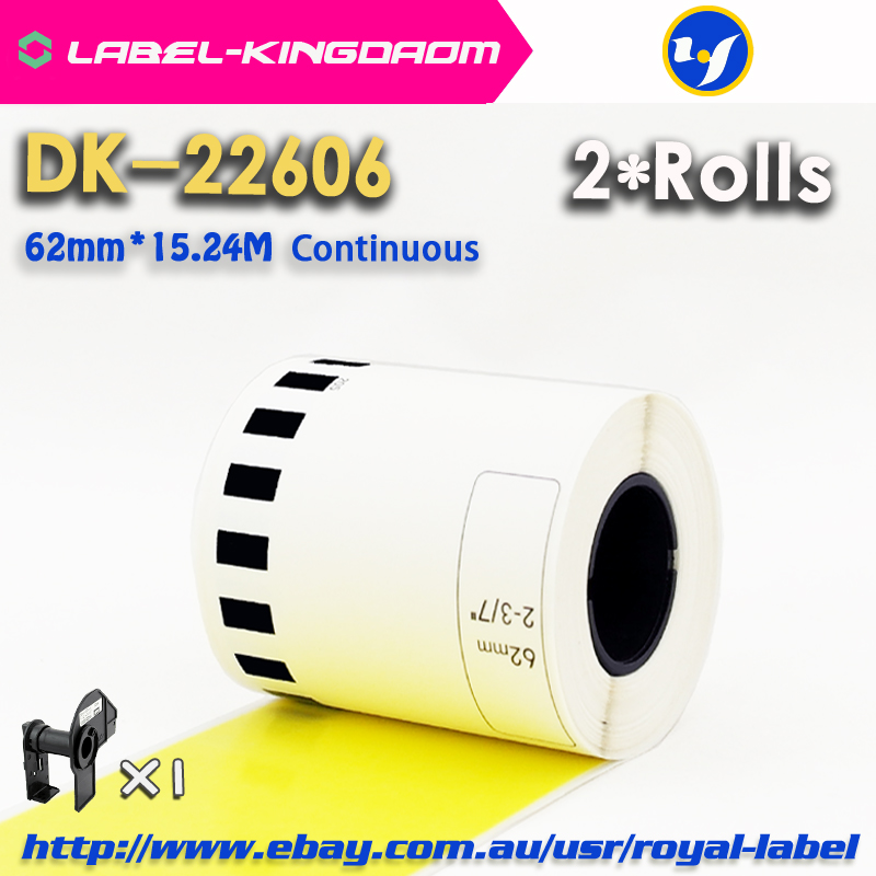 2 Refill Rolls Compatible DK 22606 Label Yellow Film Coated 62mm 15 24M Continuous Compatible for
