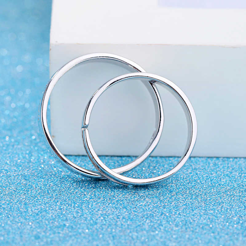 פשוט ייחודי עיצוב כסף-צבע טבעות מתכוונן גודל טבעות גברים נשים 1 זוג חתונה טבעת תכשיטי משלוח חינם