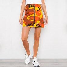 c0eb0043b Zipper High Waist Mini Skirt Women Orange Pink Camouflage Sexy Short  Harajuku Printed Fashion Short Denim