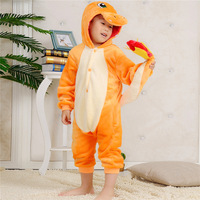 Children Girl Boy Unisex Winter Animal Fire Dragon One Piece Bodysuit Pajamas Anime Costume Dress Robe