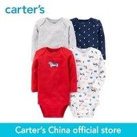 Carter S 4 Pack Baby Children Kids Clothing Boy All Seasons Cotton Long Sleeve Original Bodysuits