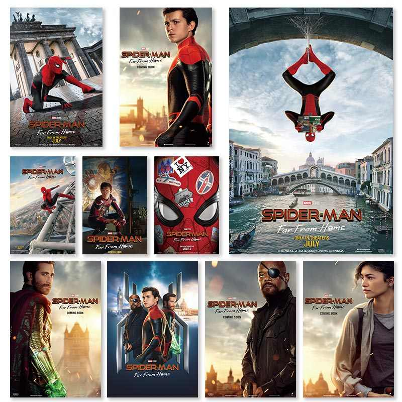 Spider-Man: Far From Home poster Marvel Superhero Posters and Prints Pictures for Bed Room Home Decor Silk Wall Art