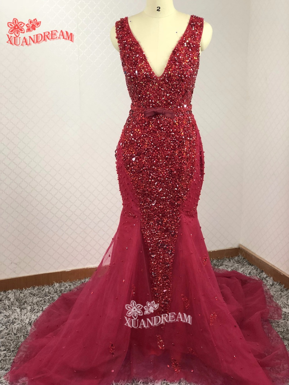 XUANDREAM Heavy crystals beads bling bling evening dress vestidos-de-fiesta elegant v neck side lace up mermaid evening dresses (China)