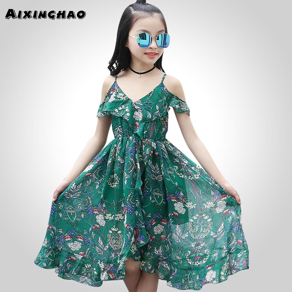 Aixinghao meninas vestido de verão boêmio para meninas 2018 casual meninas praia sundress adolescentes roupas adolescentes 6 8 10 12 ano