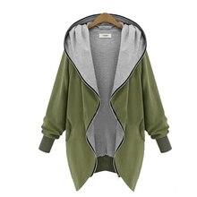 Merry довольно Большие размеры Для женщин тонкая верхняя одежда Куртки капюшон на молнии Кофты женский с длинным рукавом Army Green топы hoddies пальто