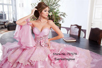 Pink Fantasy Layered Organza Prom Dresses For Pregnant Women A Line Sweetheart Beads Lace Long Evening