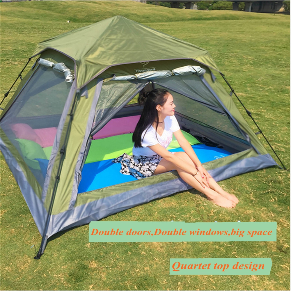Naturehike 3-4 person Outdoor Camping Tent Beach Travel Tents Rainproof Outdoor Field Camping Double Layers Automatic Tent high quality outdoor 2 person camping tent double layer aluminum rod ultralight tent with snow skirt oneroad windsnow 2 plus