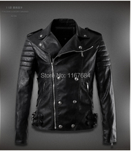 New Brand Men's rivet leather-based bike jacket lapel Slim embroidery coat Genuine Sheep pores and skin Leather clothes /