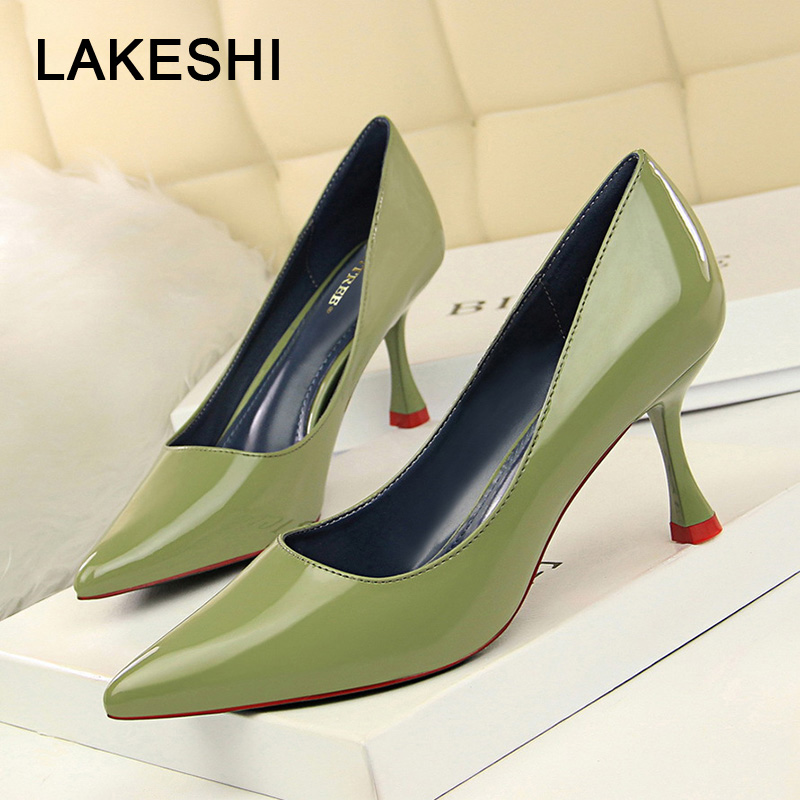 Women Pumps Spring High Heels Women Shoes Patent Leather Pointed Toe Classic Pumps Women Dress Shoes Work