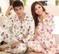 Новая Пара пижамы пижамы Зима Хлопка с длинными рукавами пижамы костюм для мужчины женщины M, L, XL, 2XL