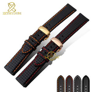 Genuine leather bracelet Watchband Carbon fiber grain Red stitching 18mm 20mm 22mm watch band strap accessories Butterfly buckle(China)