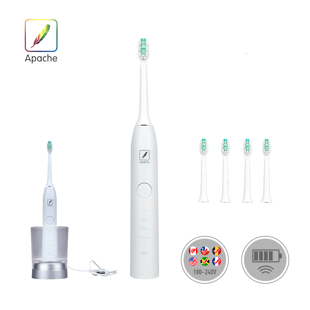 Apache Pro 40000 Wireless Induction Charging Electric Toothbrush  4 Optional Modes Waterproof for Shower 4 Replacement Heads cnc motorcycle brake fluid reservoir clutch tank cylinder master oil cup for yamaha fz6 600 fazer s2 2004 2005 2006 2007 2008