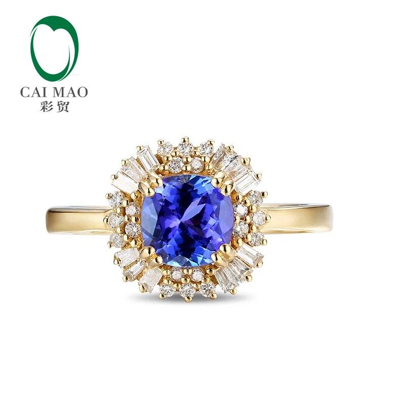 CaiMao 18KT/750 Желтого Золота 1.35 карат Природный ЕСЛИ Синий Танзанит ААА 0.36 карат Полный Cut Бриллиантовое Обручальное Драгоценных Камней кольца Ювелирные Изделия
