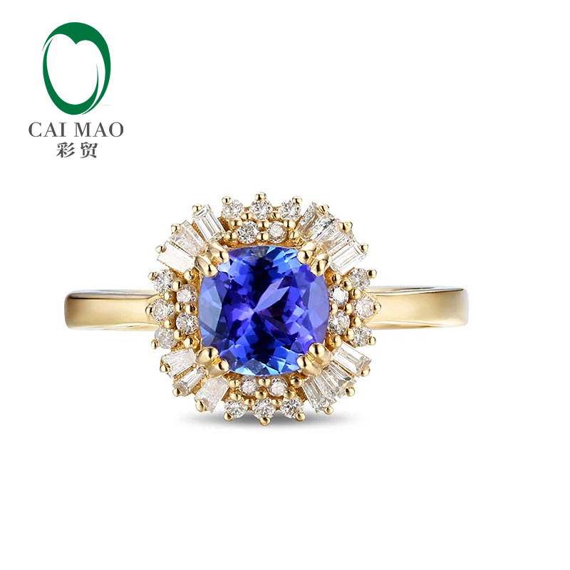 купить CaiMao 18KT/750 Yellow Gold 1.35 ct Natural IF Blue Tanzanite AAA 0.36 ct Full Cut Diamond Engagement Gemstone Ring Jewelry по цене 34981.99 рублей