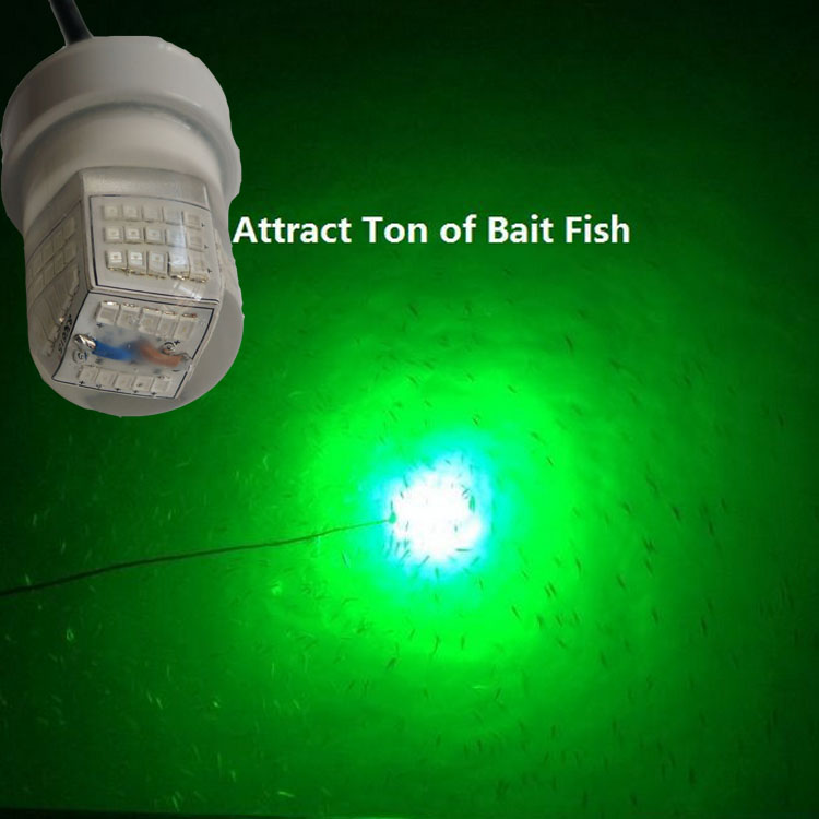 Green White 12V Underwater LED Floating Crappie Fishing Light Attractor for Reservoir Pond Fishing