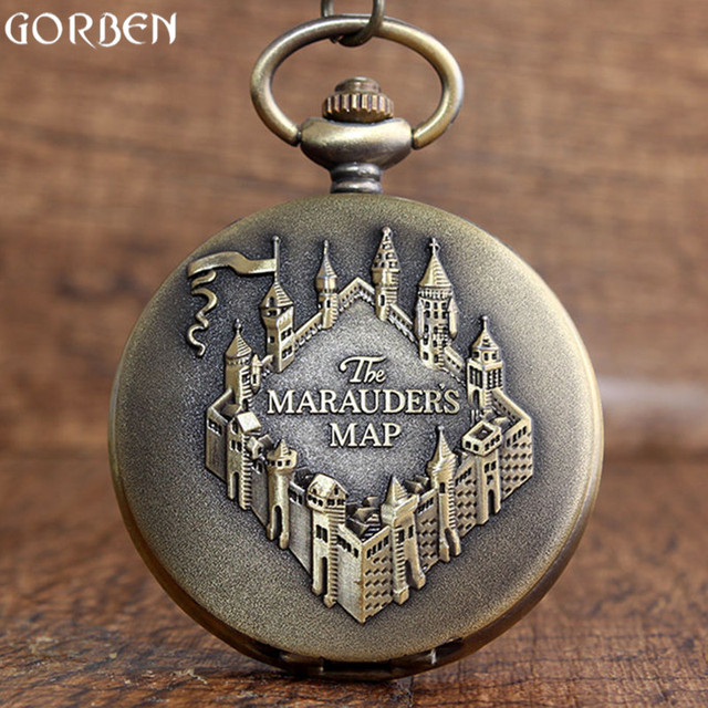 The Marauders Map Bronze Pocket Watches Vintage Sculpture College Building Patte
