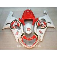 Fairings for SUZUKI GSXR 600 GSXR 750 K1 K2 2001 2002 2003 gsxr600 gsxr750 01 02 03 red white LUCKY STRIKE fairing kit TP