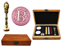 Vintage Luxury Letter B Alphabet Initial Engraved Wedding Invitation Wax Seal Sealing Stamp Brass Peacock Metal