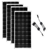 Solar Panel 12v 100w 4 Pcs Solar Plates 400w 48v Solar Battery 4 in Connector Solar Home System Motorhome Caravan Car Camping