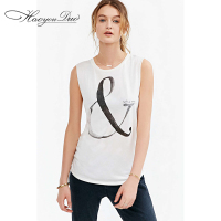 Haoyouduo2015 Spring Summer New Female Neck Sleeveless T Shirt And White Letters Printed T Personality