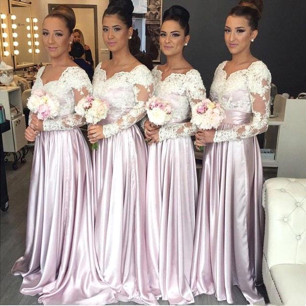 Robe Demoiselle D'honneur A Line Long Sleeves Pink Lace Bridemaid Dresses Satin Prom Dresses Wedding Party Gowns