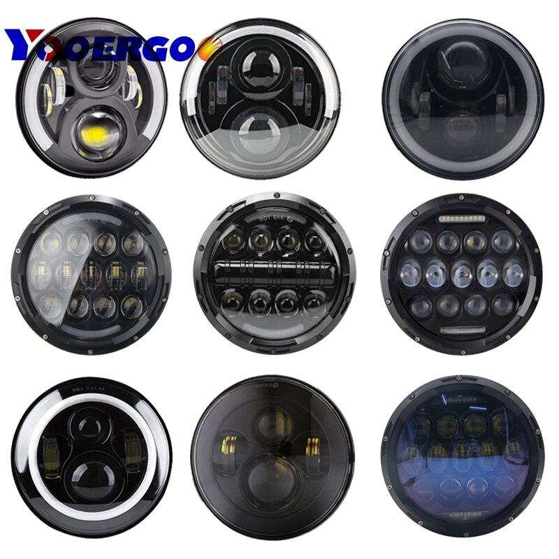 YOOERGOO Round 7 LED fog Headlight 7 H4 Hi/low Headlight Headlamp LED Halo Angel Eyes Light Bulbs For lada niva 4x4