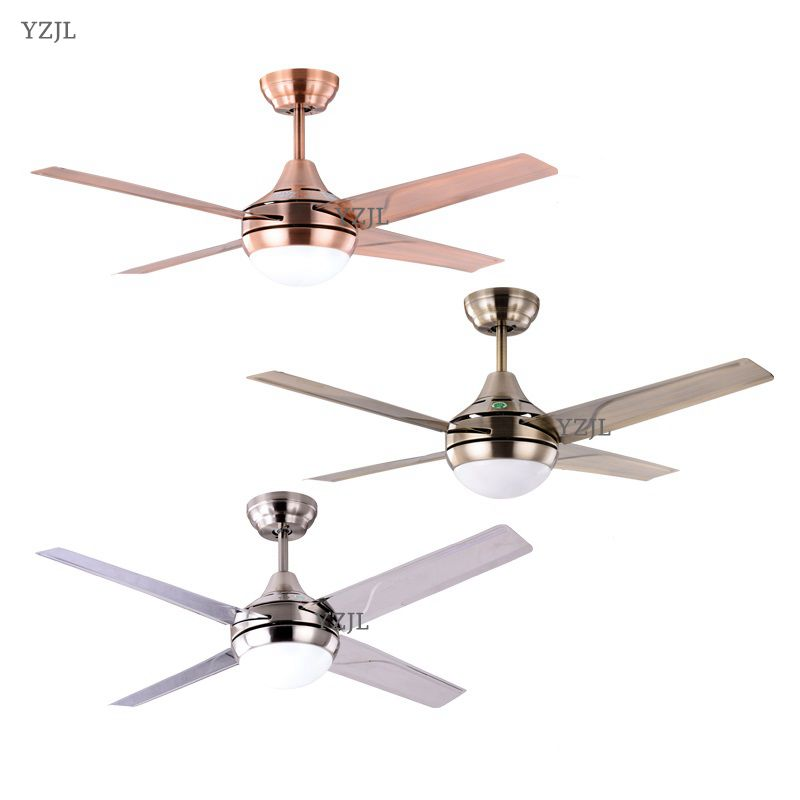 modern minimalist stainless steel leaf 42inch led fan ceiling fan light bedroom ceiling fan. Black Bedroom Furniture Sets. Home Design Ideas