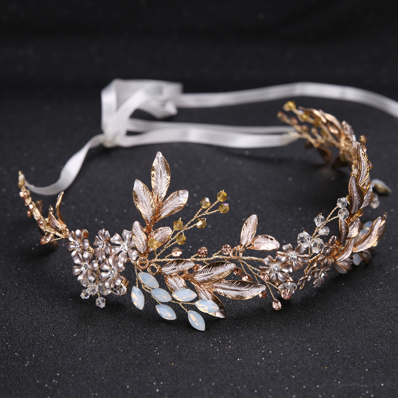 KMVEXO Champagne Alloy Crystal Bead Flower Bride Headbands Hair Comb Princess Wedding Bridal Hairbands Accessories Tiaras