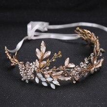 KMVEXO Champagne Alloy Crystal Bead Flower Bride Headbands Hair Comb Princess Wedding Bridal Hairbands Accessories Tiaras