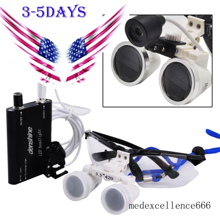 Ship from USA !! 2015 New Dentist Dental Surgical Medical Binocular Loupes 3.5X 420mm Optical Glass Loupe usa ship