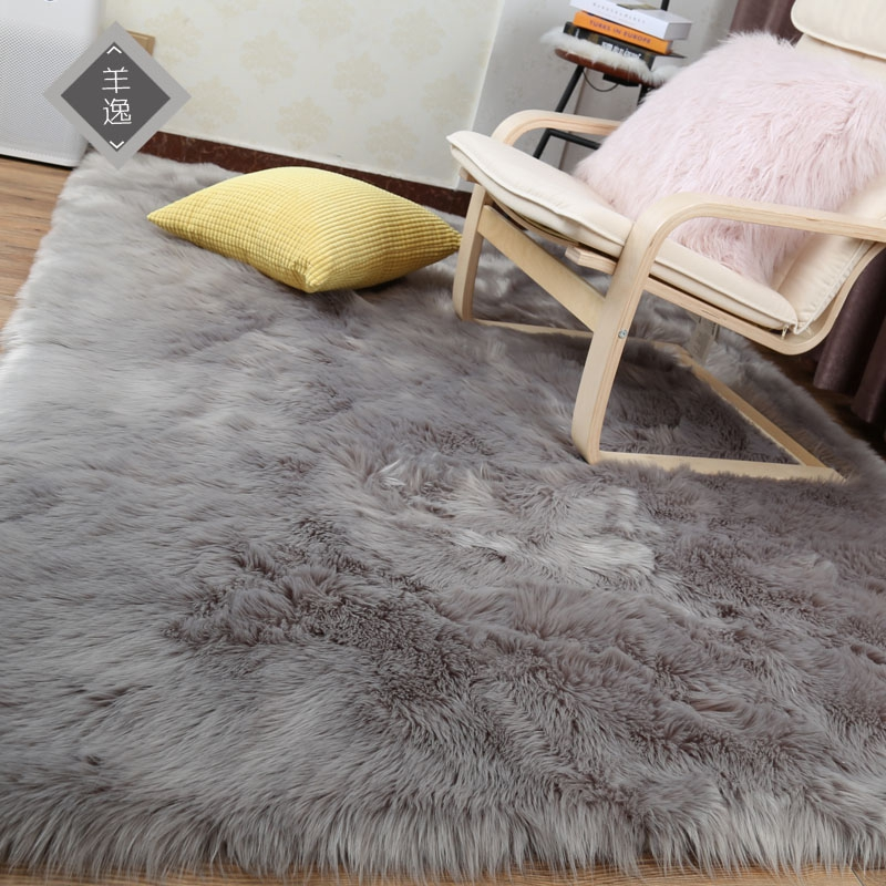 Sheepskin Rug Square: Artificial Wool Warm Hairy Carpet Solid Square Rectangle