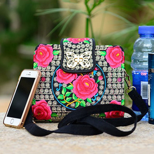 Double Side Ethnic Embroidered Sling Bags Embroidery One Shoulder Cross-body Sling Bag 5