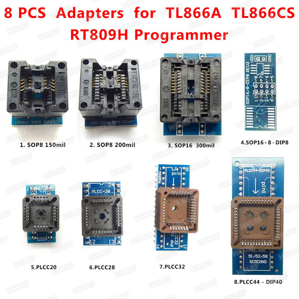 8 Programmer Adapters Sockets Kit for EZP2010,TL866A,TL866CS,with IC extractor