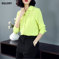 Women Real Silk Shirts New 2018 Spring High Quality Women Turn Down Collar Pure Color Yellow